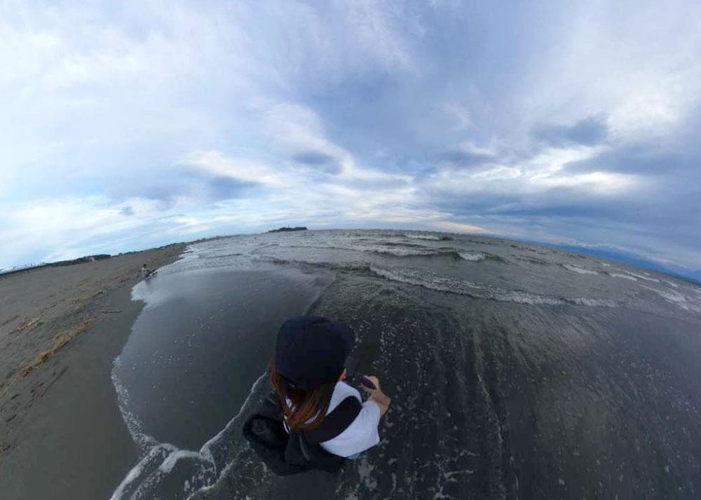 THETAで撮影した鵠沼海岸の写真